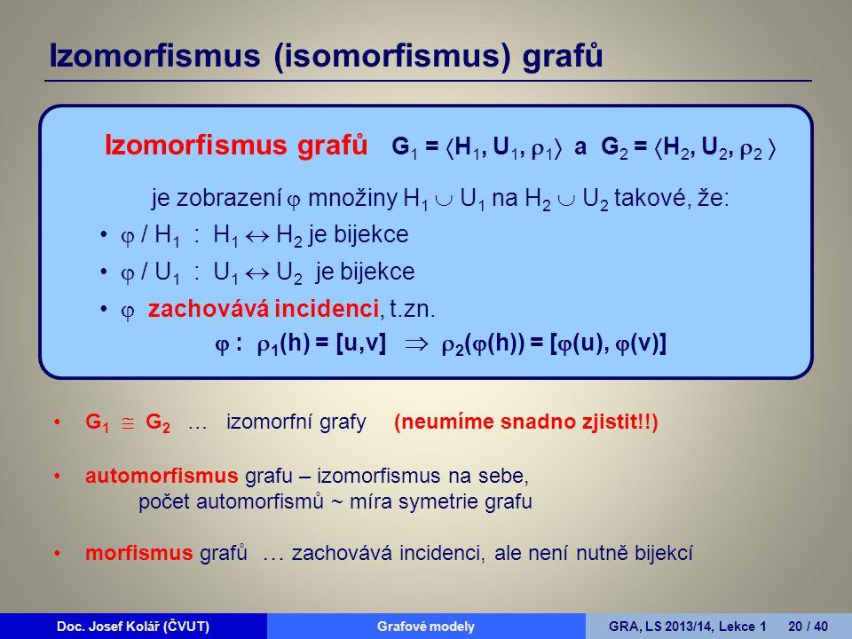 Doc. Josef Kolář (ČVUT)Grafové modelyGRA, LS 2013/14, Lekce 1 20 / 40 G 1  G 2 … izomorfní grafy(neumíme snadno zjistit!!) automorfismus grafu – izom