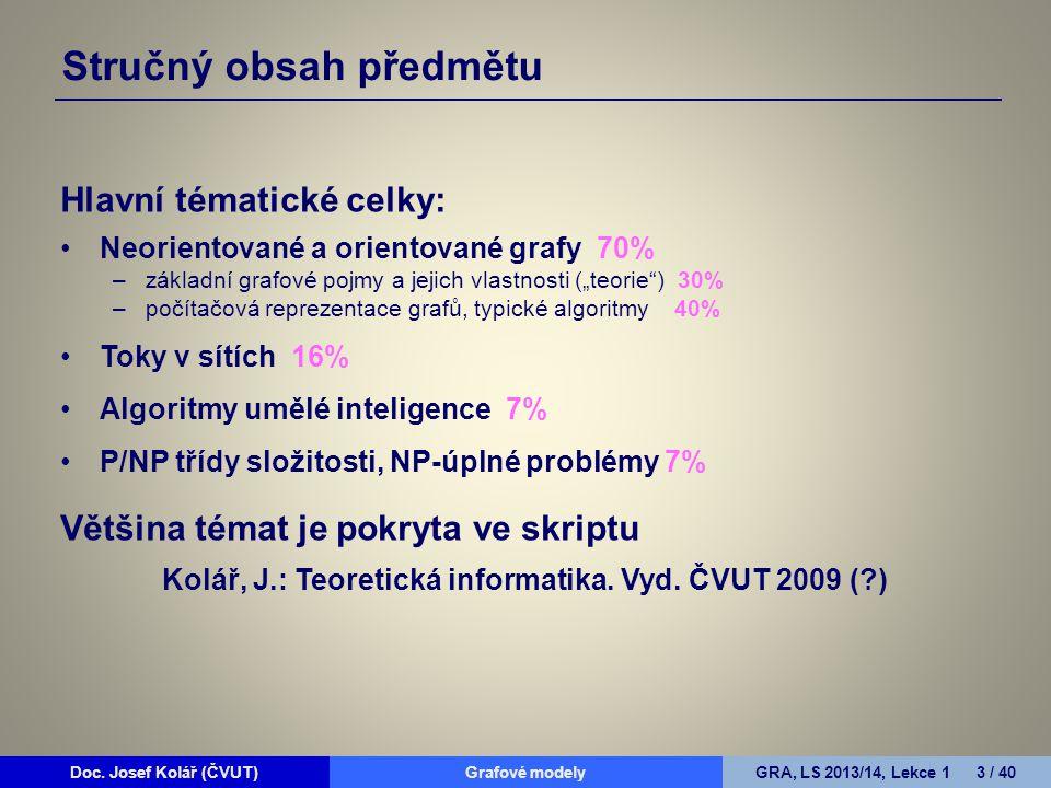 Doc. Josef Kolář (ČVUT)Grafové modelyGRA, LS 2013/14, Lekce 1 3 / 40 Stručný obsah předmětu Hlavní tématické celky: Neorientované a orientované grafy