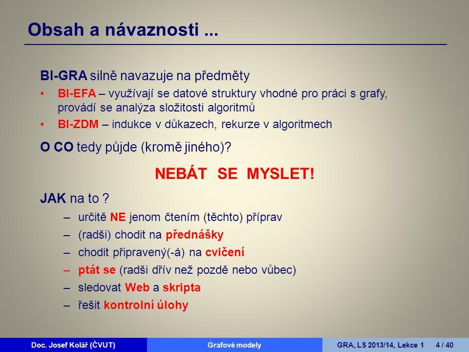 Doc. Josef Kolář (ČVUT)Grafové modelyGRA, LS 2013/14, Lekce 1 4 / 40 BI-GRA silně navazuje na předměty BI-EFA – využívají se datové struktury vhodné p
