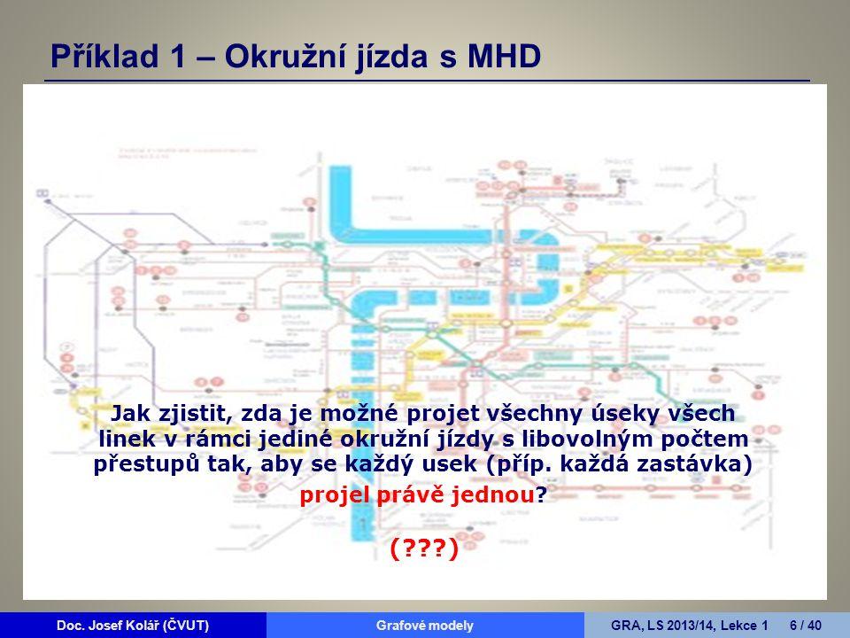 Doc. Josef Kolář (ČVUT)Grafové modelyGRA, LS 2013/14, Lekce 1 6 / 40 Systém pražské MHD zahrnuje linky tramvají, autobusů a metra. Každou z linek máme