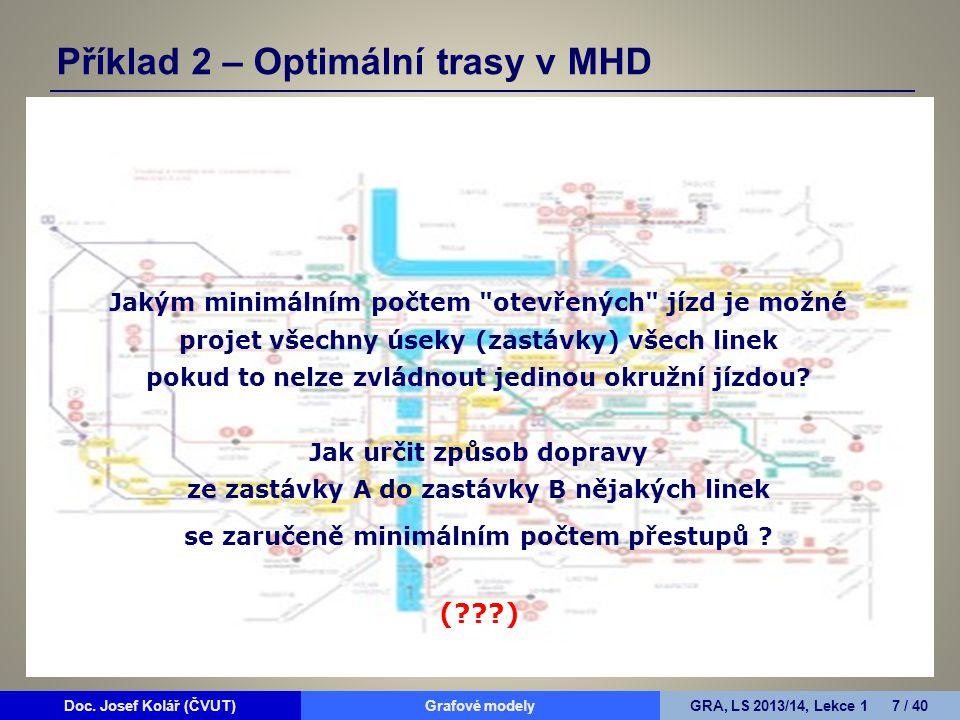 Doc. Josef Kolář (ČVUT)Grafové modelyGRA, LS 2013/14, Lekce 1 7 / 40 Jakým minimálním počtem