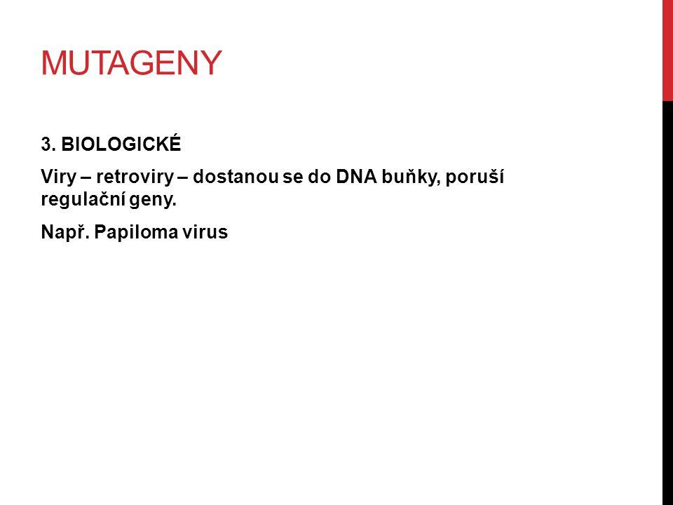 MUTAGENY 3. BIOLOGICKÉ Viry – retroviry – dostanou se do DNA buňky, poruší regulační geny.