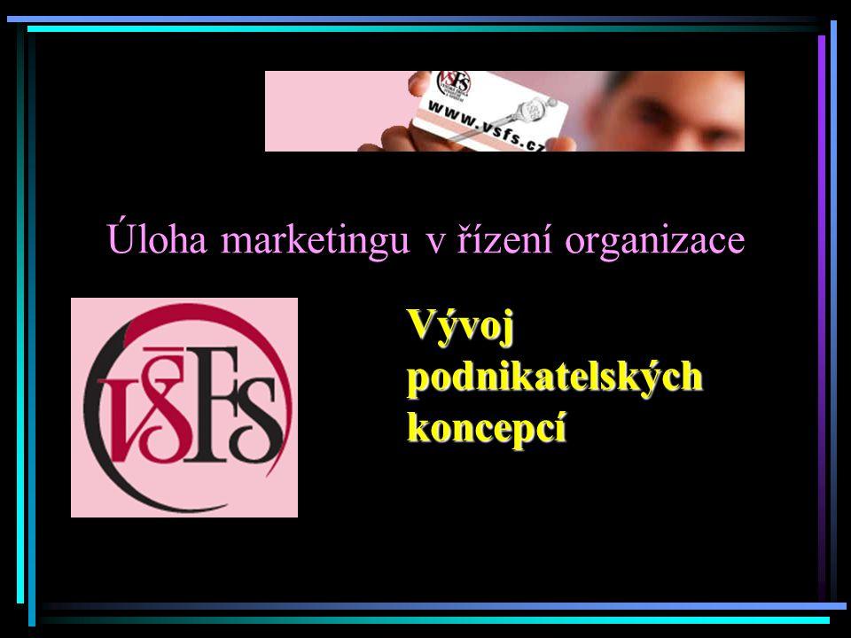 Vývoj marketingových koncepcí Vztahová – iniciativa vychází od zákazníků ne od podniku, podnik vyrábí na základě znalostí PPO zákazníků Holistická – podnik zná individuální potřeby, přínosem je hodnota pro zákazníka, podnik řídí databáze Z.