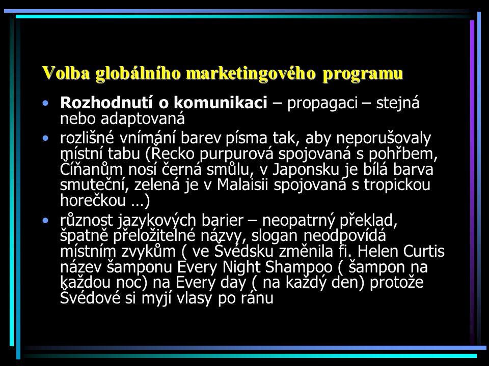 Volba globálního marketingového programu Rozhodnutí o komunikaci – propagaci – stejná nebo adaptovaná rozlišné vnímání barev písma tak, aby neporušova