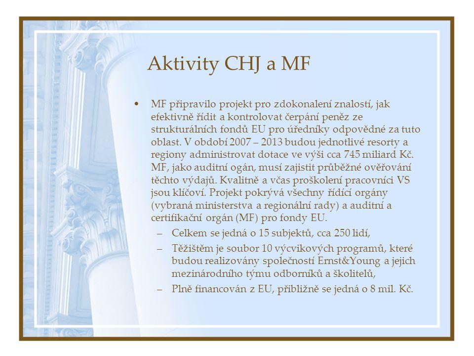 Aktivity CHJ a MF MF připravilo projekt pro zdokonalení znalostí, jak efektivně řídit a kontrolovat čerpání peněz ze strukturálních fondů EU pro úředníky odpovědné za tuto oblast.