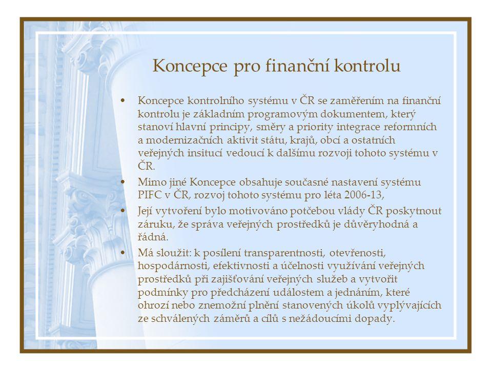 Koncepce pro finanční kontrolu Koncepce kontrolního systému v ČR se zaměřením na finanční kontrolu je základním programovým dokumentem, který stanoví hlavní principy, směry a priority integrace reformních a modernizačních aktivit státu, krajů, obcí a ostatních veřejných insitucí vedoucí k dalšímu rozvoji tohoto systému v ČR.