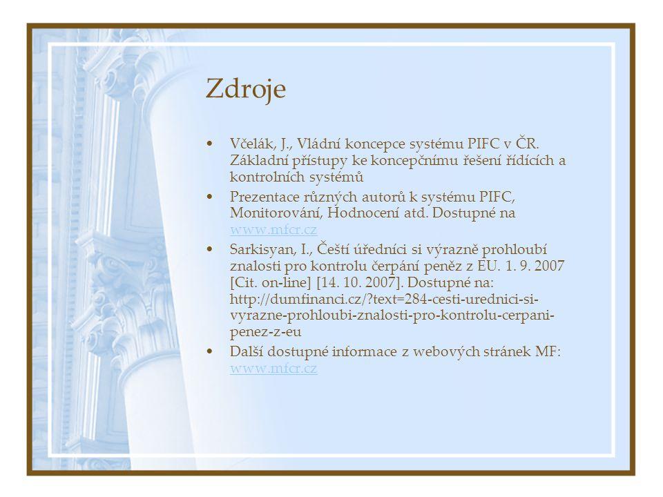 Zdroje Včelák, J., Vládní koncepce systému PIFC v ČR.