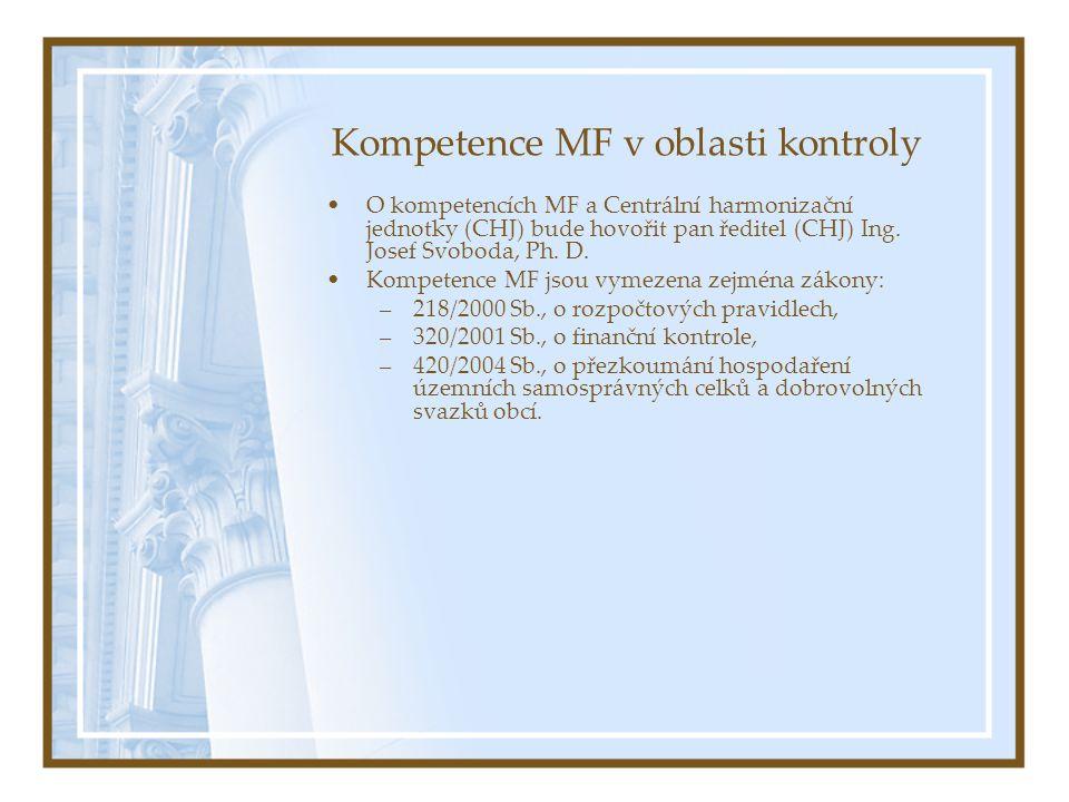 Kompetence MF v oblasti kontroly O kompetencích MF a Centrální harmonizační jednotky (CHJ) bude hovořit pan ředitel (CHJ) Ing.