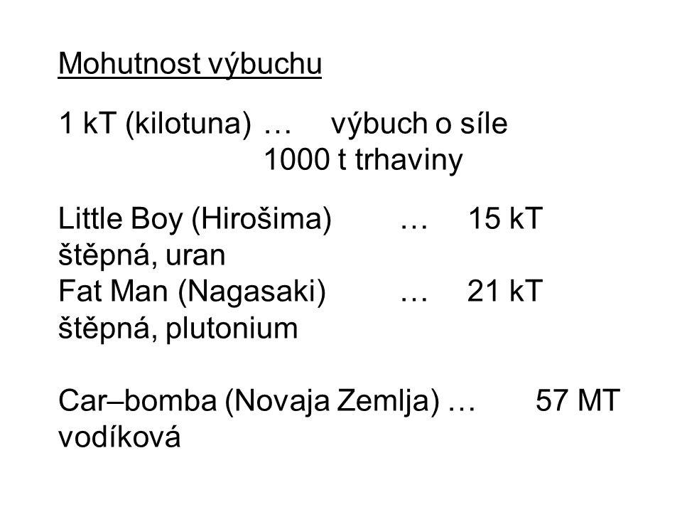 Mohutnost výbuchu 1 kT (kilotuna)…výbuch o síle 1000 t trhaviny Little Boy (Hirošima)…15 kT štěpná, uran Fat Man (Nagasaki)…21 kT štěpná, plutonium Ca