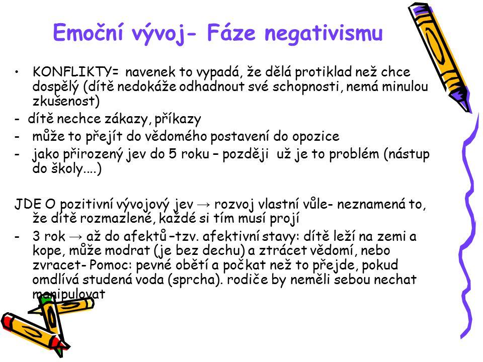 Emoční vývoj- Fáze negativismu KONFLIKTY= navenek to vypadá, že dělá protiklad než chce dospělý (dítě nedokáže odhadnout své schopnosti, nemá minulou