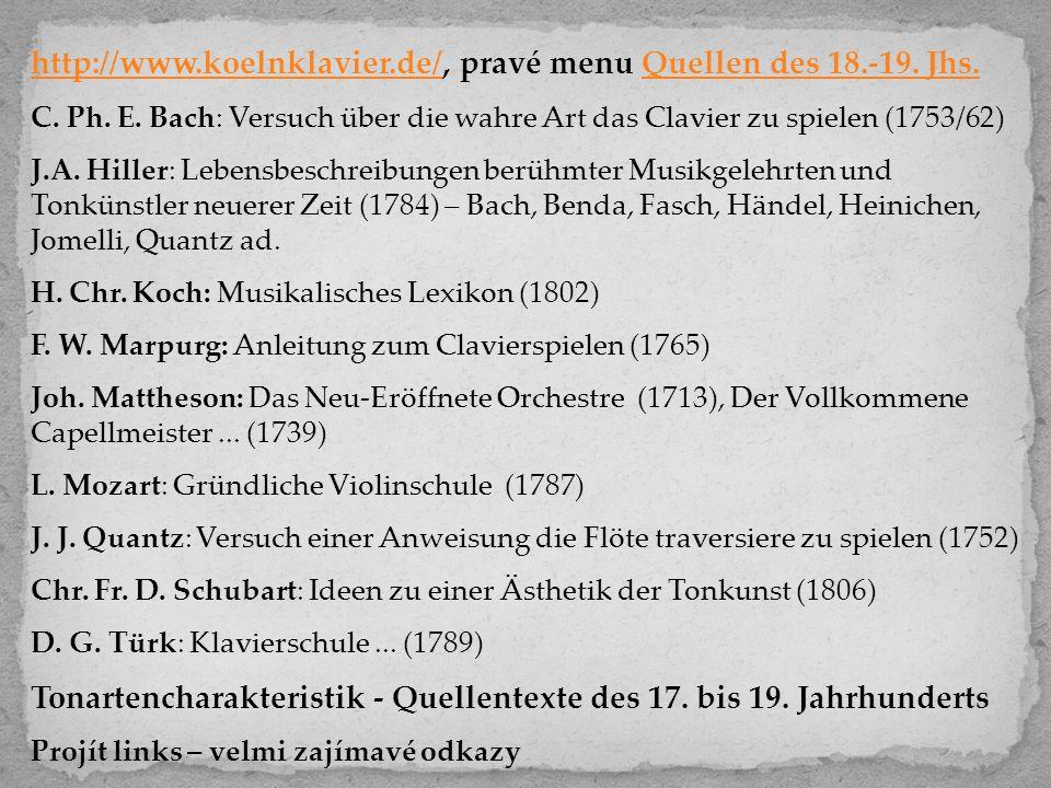 http://www.koelnklavier.de/http://www.koelnklavier.de/, pravé menu Quellen des 18.-19. Jhs.Quellen des 18.-19. Jhs. C. Ph. E. Bach: Versuch über die w