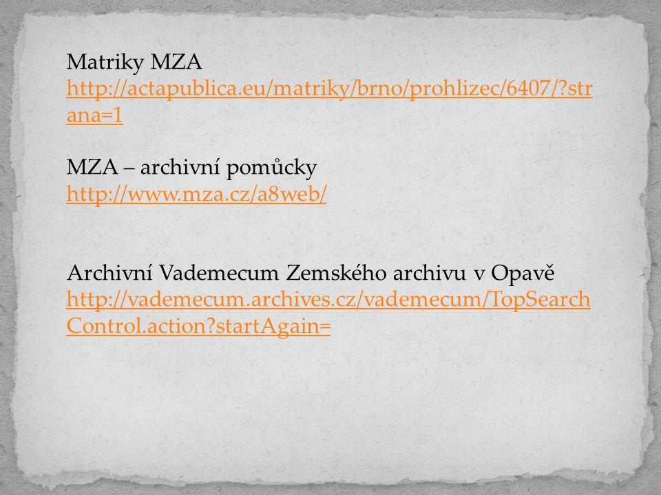 Matriky MZA http://actapublica.eu/matriky/brno/prohlizec/6407/?str ana=1 MZA – archivní pomůcky http://www.mza.cz/a8web/ Archivní Vademecum Zemského a