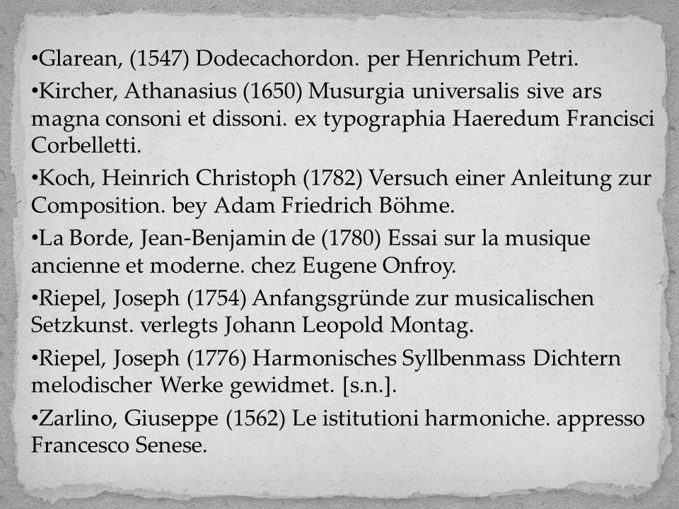Glarean, (1547) Dodecachordon. per Henrichum Petri. Kircher, Athanasius (1650) Musurgia universalis sive ars magna consoni et dissoni. ex typographia
