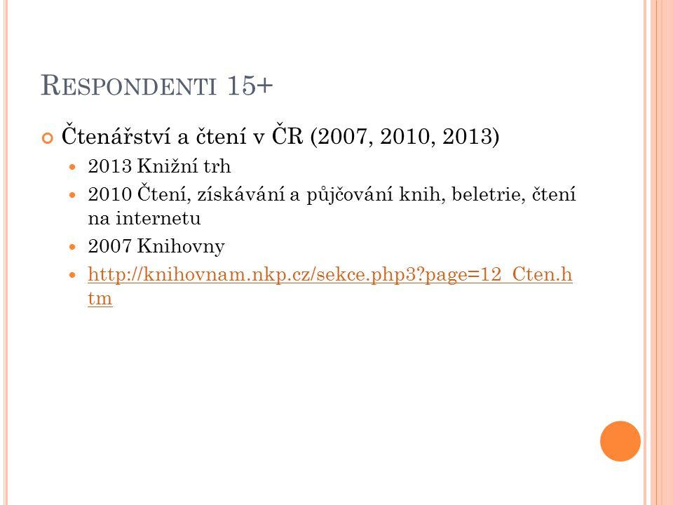 R ESPONDENTI 15+ Čtenářství a čtení v ČR (2007, 2010, 2013) 2013 Knižní trh 2010 Čtení, získávání a půjčování knih, beletrie, čtení na internetu 2007