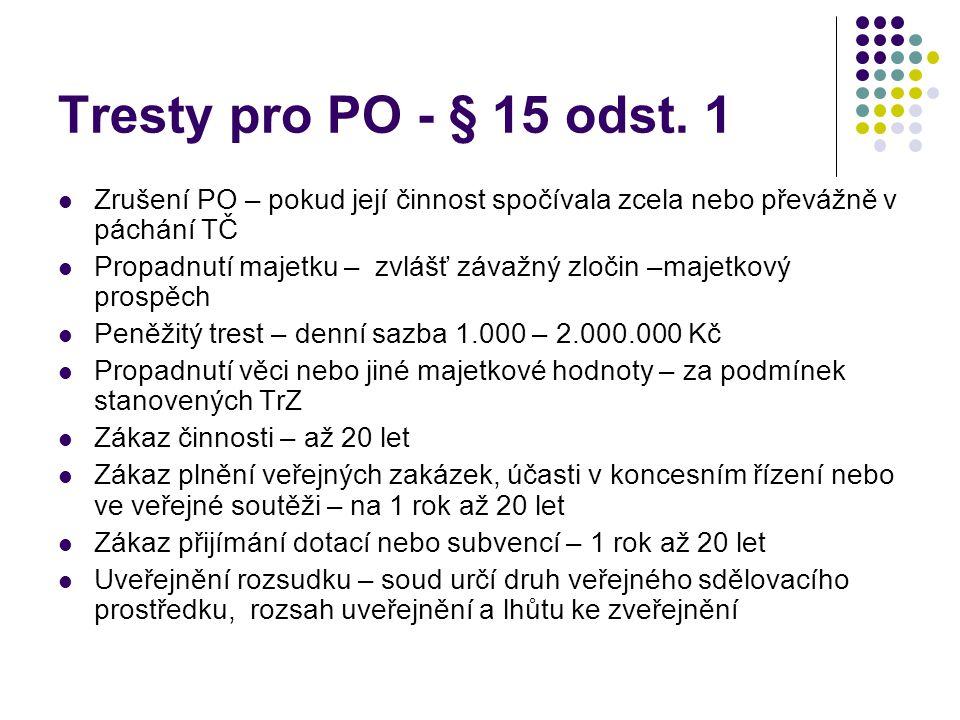 Tresty pro PO - § 15 odst.