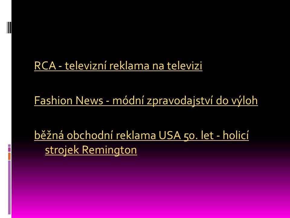 RCA - televizní reklama na televizi Fashion News - módní zpravodajství do výloh běžná obchodní reklama USA 50.