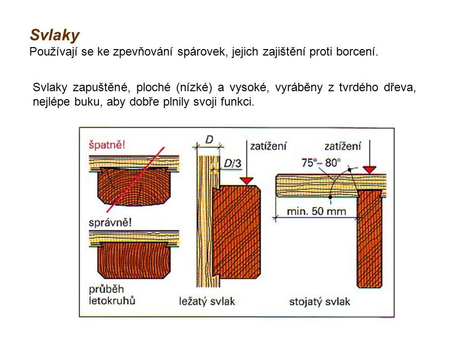 Svlaky Používají se ke zpevňování spárovek, jejich zajištění proti borcení. Svlaky zapuštěné, ploché (nízké) a vysoké, vyráběny z tvrdého dřeva, nejlé