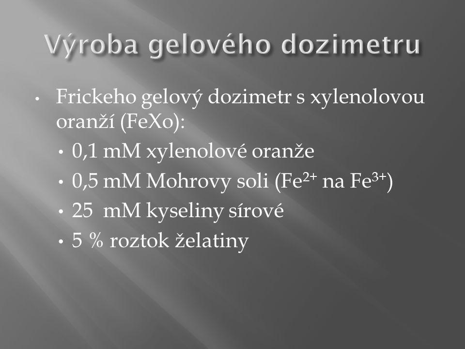 Frickeho gelový dozimetr s xylenolovou oranží (FeXo): 0,1 mM xylenolové oranže 0,5 mM Mohrovy soli (Fe 2+ na Fe 3+ ) 25 mM kyseliny sírové 5 % roztok želatiny