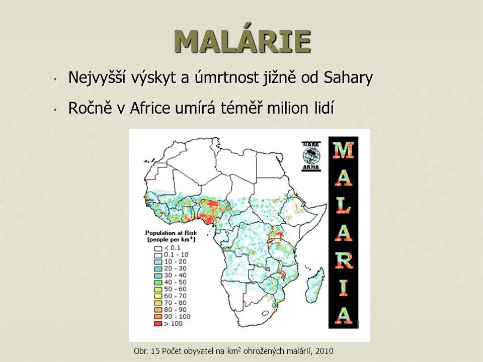 MALÁRIE Nejvyšší výskyt a úmrtnost jižně od Sahary Nejvyšší výskyt a úmrtnost jižně od Sahary Ročně v Africe umírá téměř milion lidí Ročně v Africe umírá téměř milion lidí Obr.