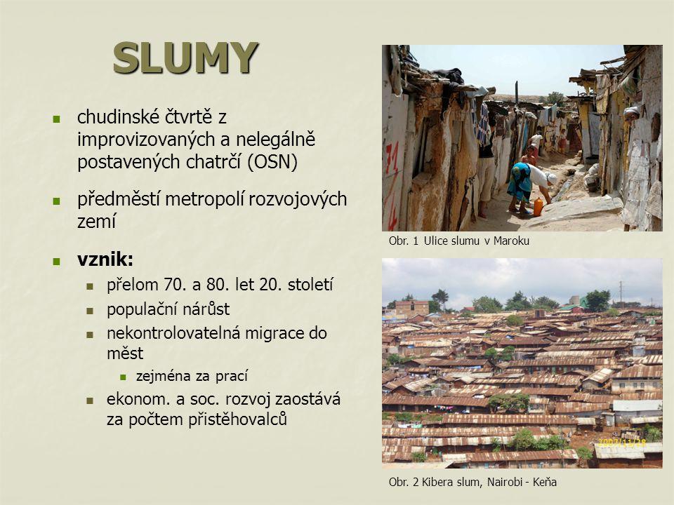 SLUMY chudinské čtvrtě z improvizovaných a nelegálně postavených chatrčí (OSN) předměstí metropolí rozvojových zemí vznik: přelom 70.