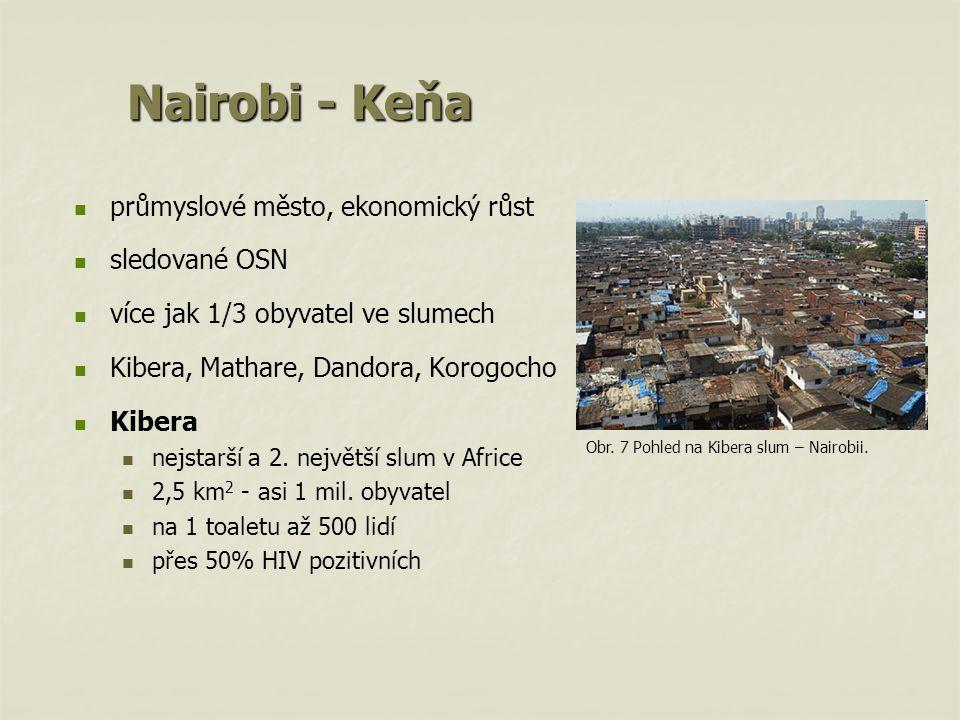 Nairobi - Keňa průmyslové město, ekonomický růst sledované OSN více jak 1/3 obyvatel ve slumech Kibera, Mathare, Dandora, Korogocho Kibera nejstarší a 2.
