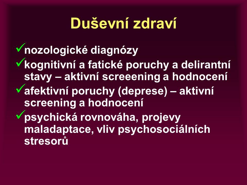 Duševní zdraví nozologické diagnózy kognitivní a fatické poruchy a delirantní stavy – aktivní screeening a hodnocení afektivní poruchy (deprese) – akt