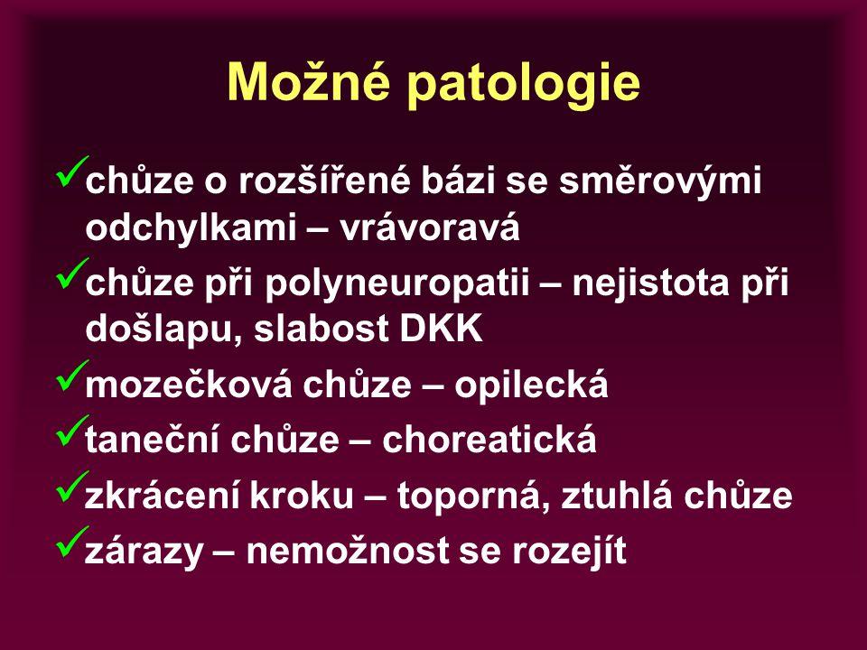 Možné patologie chůze o rozšířené bázi se směrovými odchylkami – vrávoravá chůze při polyneuropatii – nejistota při došlapu, slabost DKK mozečková chů
