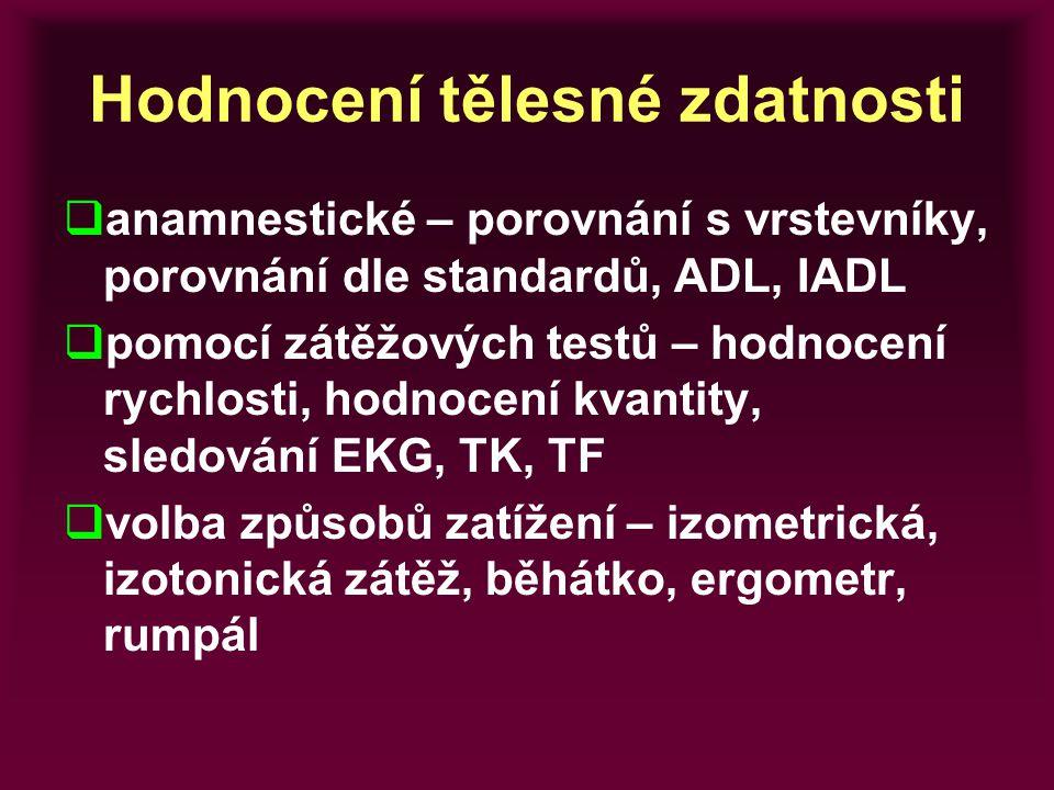 Hodnocení tělesné zdatnosti  anamnestické – porovnání s vrstevníky, porovnání dle standardů, ADL, IADL  pomocí zátěžových testů – hodnocení rychlost