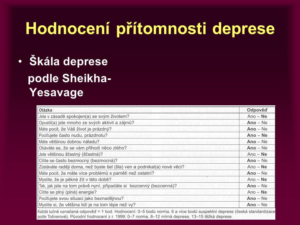 Hodnocení přítomnosti deprese Škála deprese podle Sheikha- Yesavage