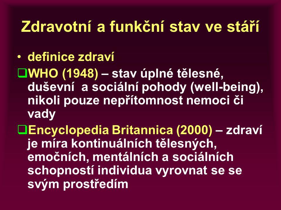 Zdravotní a funkční stav ve stáří definice zdraví  WHO (1948) – stav úplné tělesné, duševní a sociální pohody (well-being), nikoli pouze nepřítomnost