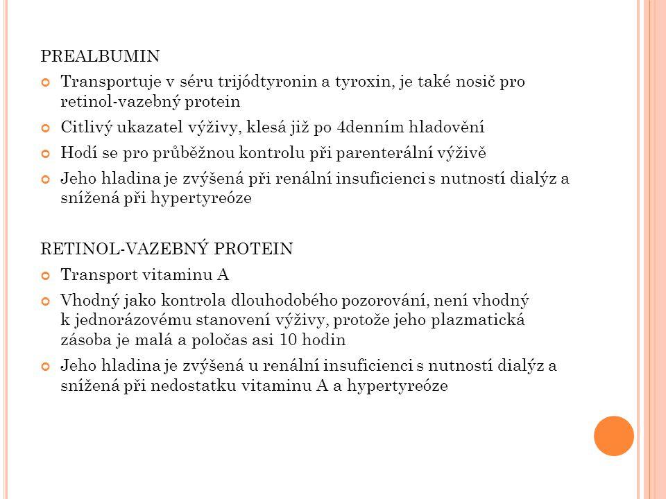 PREALBUMIN Transportuje v séru trijódtyronin a tyroxin, je také nosič pro retinol-vazebný protein Citlivý ukazatel výživy, klesá již po 4denním hladov