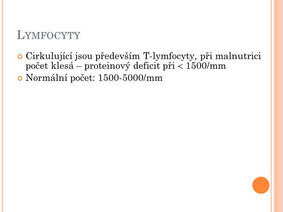 L YMFOCYTY Cirkulující jsou především T-lymfocyty, při malnutrici počet klesá – proteinový deficit při  1500/mm Normální počet: 1500-5000/mm