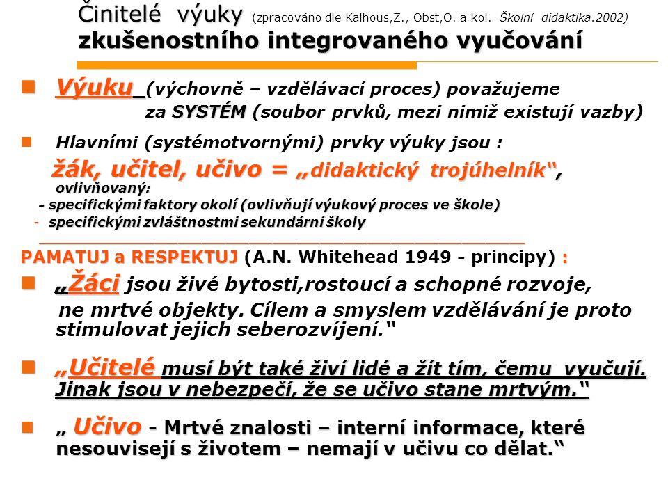Činitelé výuky zkušenostního integrovaného vyučování Činitelé výuky (zpracováno dle Kalhous,Z., Obst,O. a kol. Školní didaktika.2002) zkušenostního in