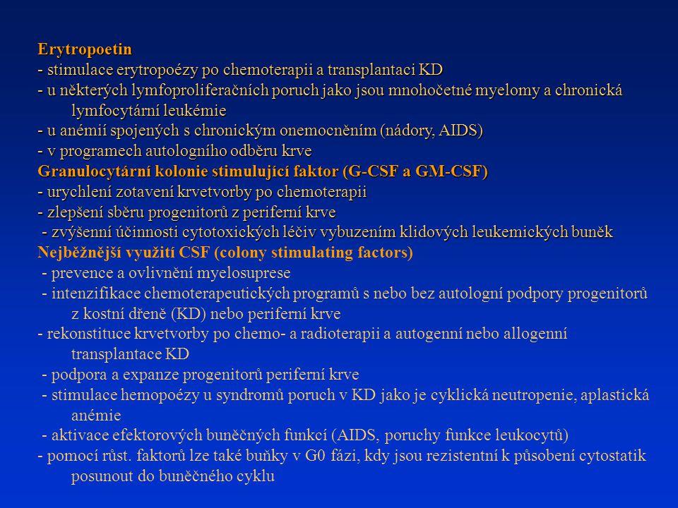 Erytropoetin - stimulace erytropoézy po chemoterapii a transplantaci KD - u některých lymfoproliferačních poruch jako jsou mnohočetné myelomy a chroni
