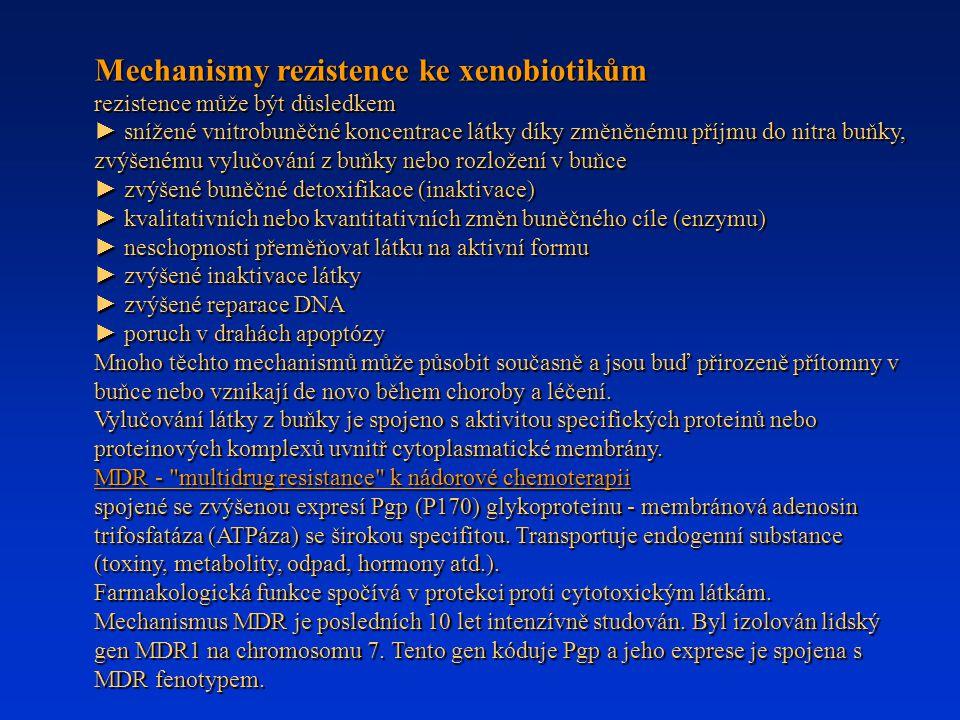 Mechanismy rezistence ke xenobiotikům rezistence může být důsledkem ► snížené vnitrobuněčné koncentrace látky díky změněnému příjmu do nitra buňky, zv