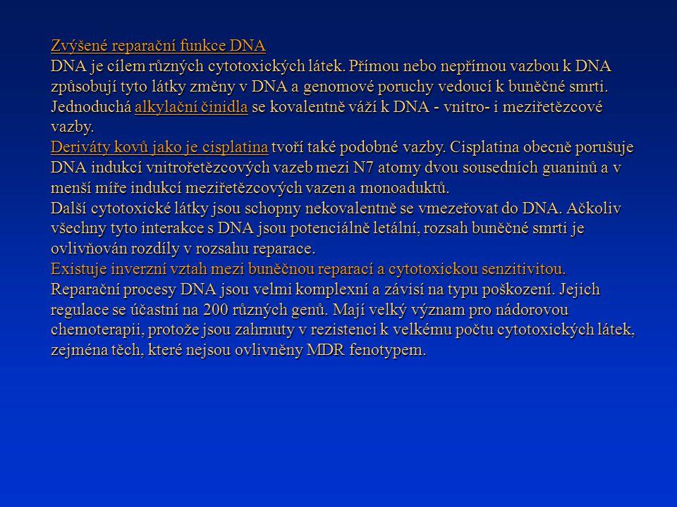 Zvýšené reparační funkce DNA DNA je cílem různých cytotoxických látek. Přímou nebo nepřímou vazbou k DNA způsobují tyto látky změny v DNA a genomové p
