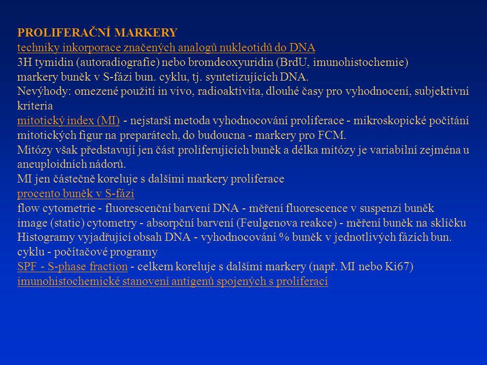 PROLIFERAČNÍ MARKERY techniky inkorporace značených analogů nukleotidů do DNA 3H tymidin (autoradiografie) nebo bromdeoxyuridin (BrdU, imunohistochemi