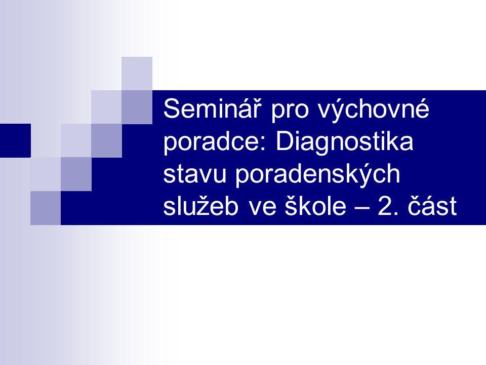 Seminář pro výchovné poradce: Diagnostika stavu poradenských služeb ve škole – 2. část