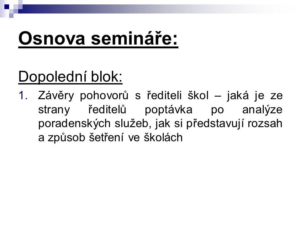 Osnova semináře: Dopolední blok: 1.Závěry pohovorů s řediteli škol – jaká je ze strany ředitelů poptávka po analýze poradenských služeb, jak si předst