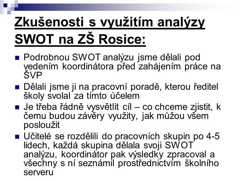 Zkušenosti s využitím analýzy SWOT na ZŠ Rosice: Podrobnou SWOT analýzu jsme dělali pod vedením koordinátora před zahájením práce na ŠVP Dělali jsme j
