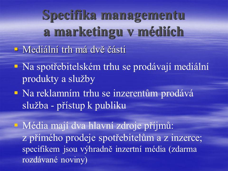 Specifika managementu a marketingu v médiích  Mediální trh má dvě části  Na spotřebitelském trhu se prodávají mediální produkty a služby  Na reklamním trhu se inzerentům prodává služba - přístup k publiku  Média mají dva hlavní zdroje příjmů: z přímého prodeje spotřebitelům a z inzerce; specifikem jsou výhradně inzertní média (zdarma rozdávané noviny)
