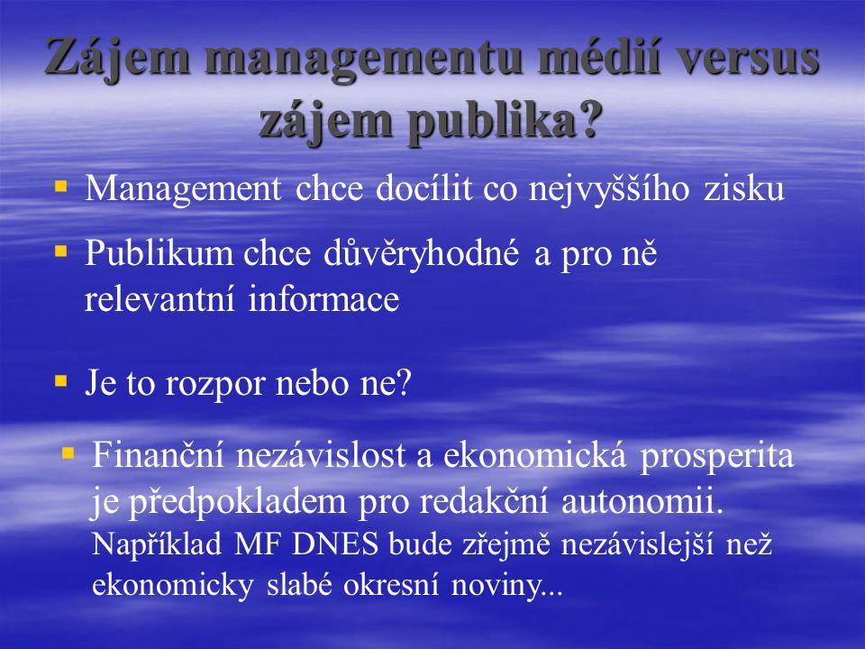 Zájem managementu médií versus zájem publika.