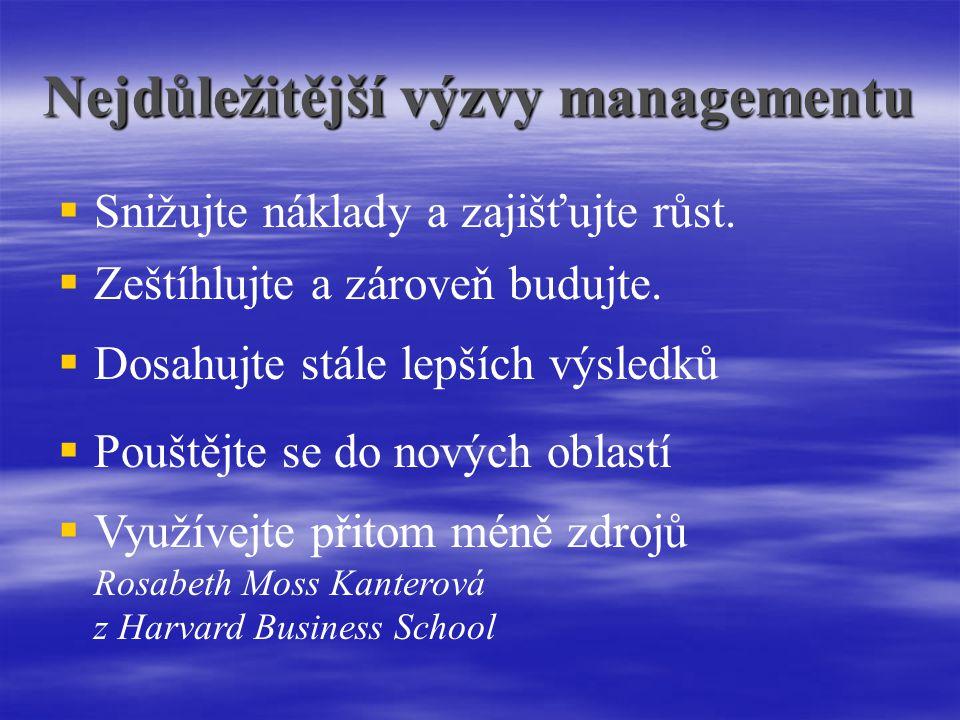 Nejdůležitější výzvy managementu   Snižujte náklady a zajišťujte růst.