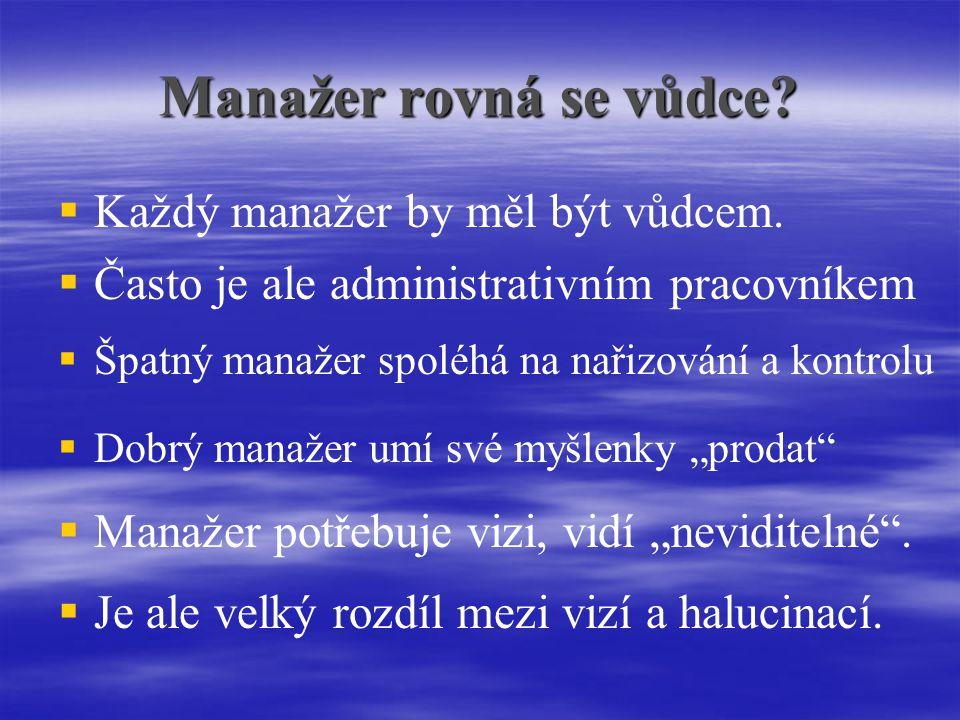 Manažer rovná se vůdce.   Každý manažer by měl být vůdcem.
