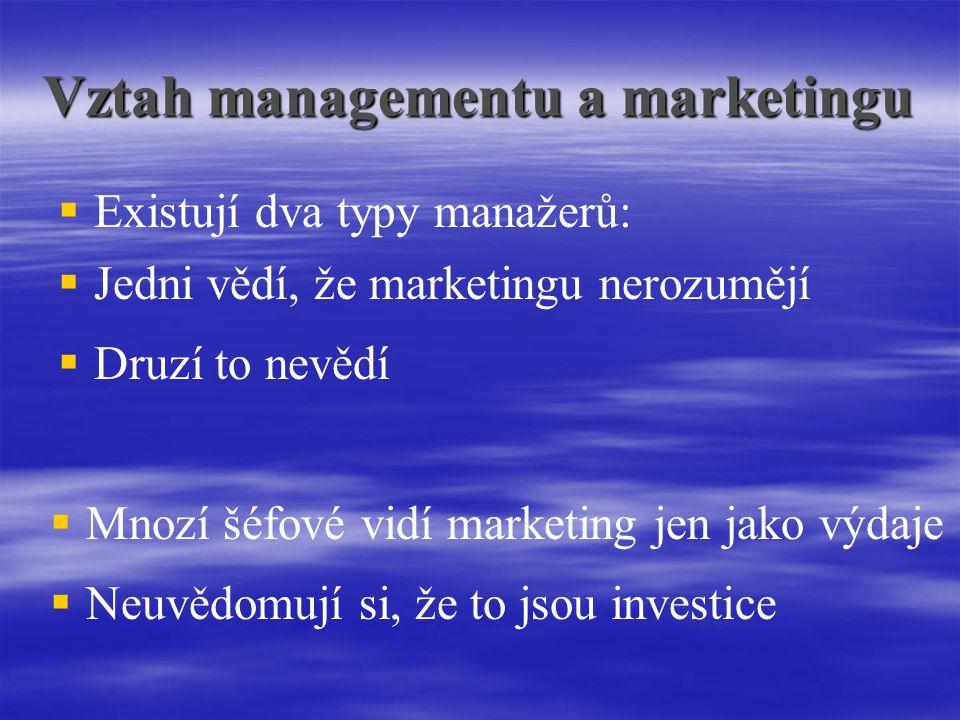 Vztah managementu a marketingu   Existují dva typy manažerů:  Jedni vědí, že marketingu nerozumějí  Druzí to nevědí  Mnozí šéfové vidí marketing jen jako výdaje  Neuvědomují si, že to jsou investice