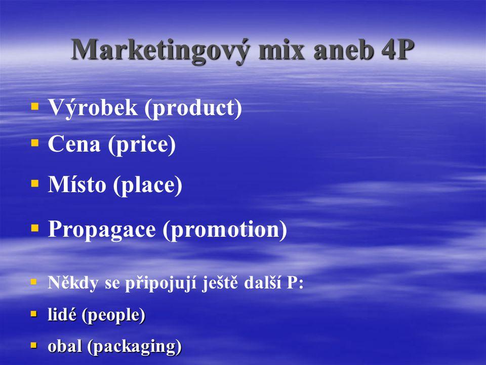 Marketingový mix aneb 4P   Výrobek (product)  Cena (price)  Místo (place)  Propagace (promotion)  Někdy se připojují ještě další P:  lidé (people)  obal (packaging)
