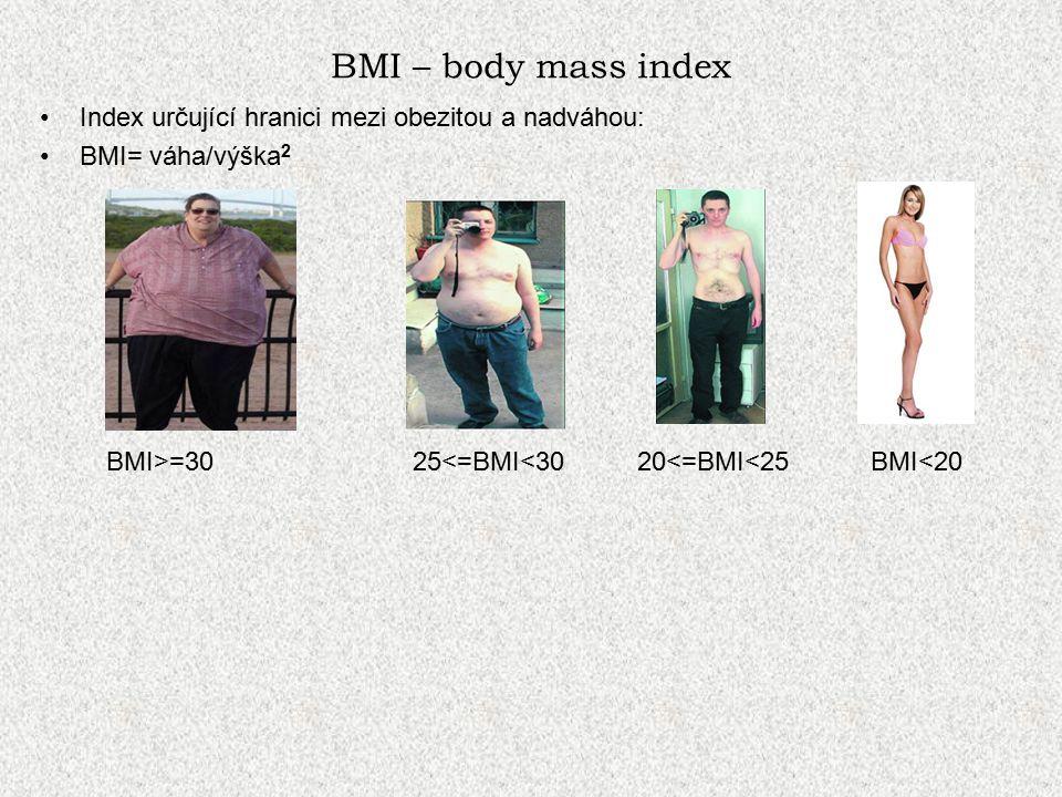 BMI – body mass index Index určující hranici mezi obezitou a nadváhou: BMI= váha/výška 2 BMI>=30 25<=BMI<30 20<=BMI<25 BMI<20