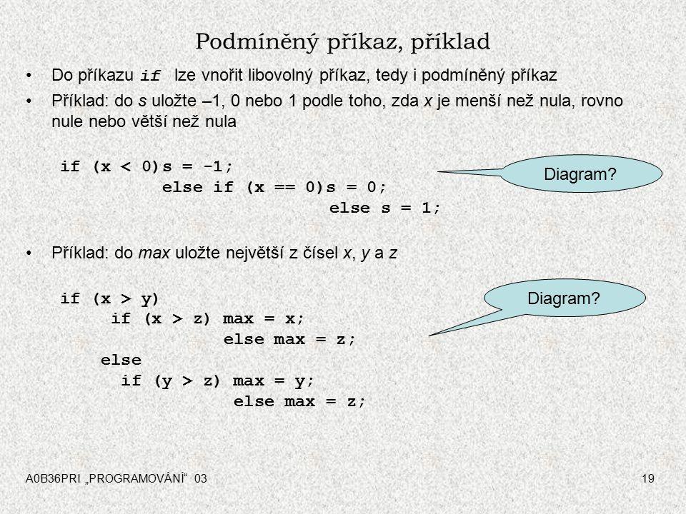 """A0B36PRI """"PROGRAMOVÁNÍ 0319 Podmíněný příkaz, příklad Do příkazu if lze vnořit libovolný příkaz, tedy i podmíněný příkaz Příklad: do s uložte –1, 0 nebo 1 podle toho, zda x je menší než nula, rovno nule nebo větší než nula if (x < 0)s = -1; else if (x == 0)s = 0; else s = 1; Příklad: do max uložte největší z čísel x, y a z if (x > y) if (x > z) max = x; else max = z; else if (y > z) max = y; else max = z; Diagram?"""
