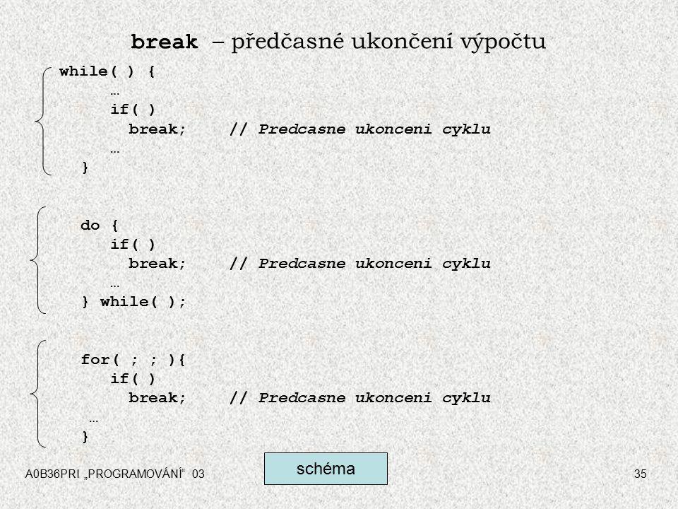 """A0B36PRI """"PROGRAMOVÁNÍ 0335 break – předčasné ukončení výpočtu while( ) { … if( ) break;// Predcasne ukonceni cyklu … } do { if( ) break;// Predcasne ukonceni cyklu … } while( ); for( ; ; ){ if( ) break;// Predcasne ukonceni cyklu … } schéma"""