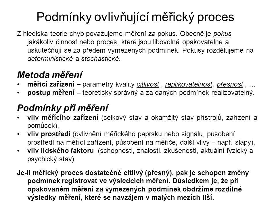 Podmínky ovlivňující měřický proces Z hlediska teorie chyb považujeme měření za pokus.